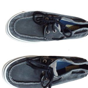 Sperry Top Sider Bahama Boat Shoes Black Acid Wash